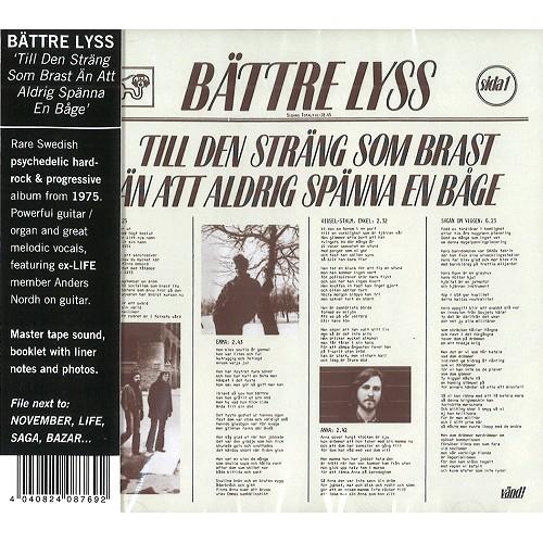 BATTRE LYSS / ベットレ・リス / TILL DEN STRANG SOM BRAST AN ATT ALDRIG SPANNA EN BAGE