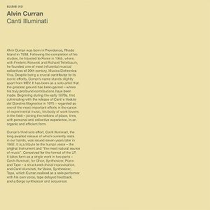 ALVIN CURRAN / アルヴィン・カラン / CANTI ILLUMINATI
